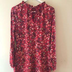 Ann Taylor boho red long sleeve Dress Size 4